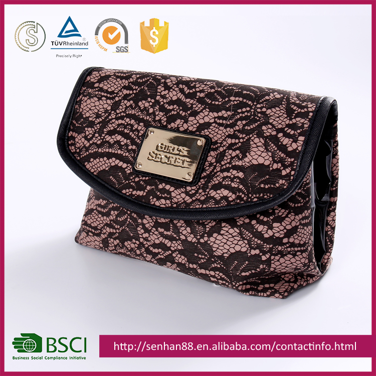 hot sale folding lace pattern cosmetic bag