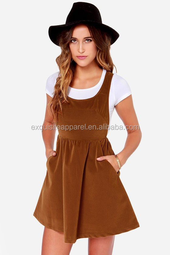 Women's Lovely Corduroy Brown Overall Dress / New Design Winter Casual Dress