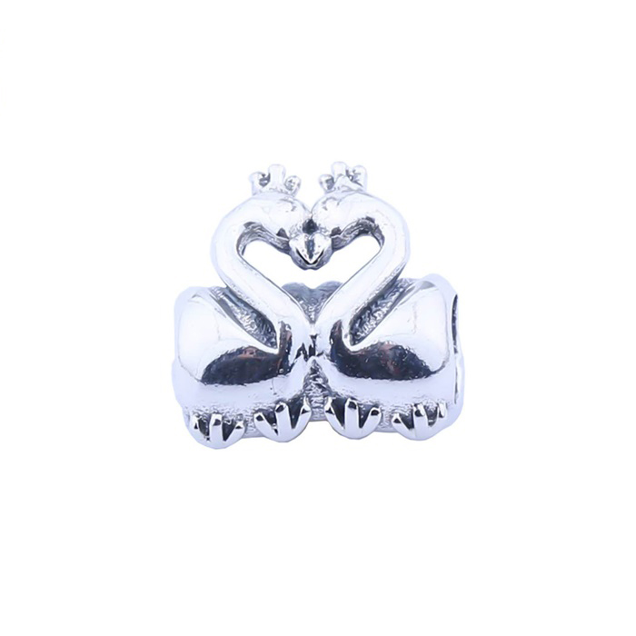 SJ Trendy Design SJBH110 Wholesale European Fashion Bead Authentic 925 Sterling Silver Dual Swan Charm for Girl
