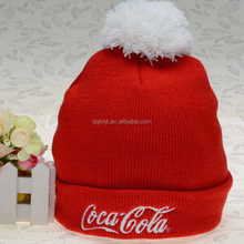 Hot sell Embroidered knitted hat for men and women with hairball