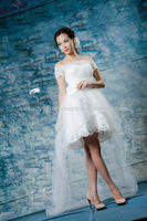 Romatic Long Sleeve Lace Sexy Short Wedding Dresses 2014