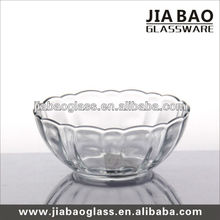 Transparent lotus shape glass bowl high white glass salad bowl /glass candy bowl