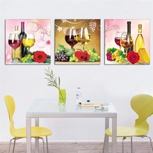 Restaurant Decoration New 5D Fruit Wine Glass Pattern Triptych Diamond Painting