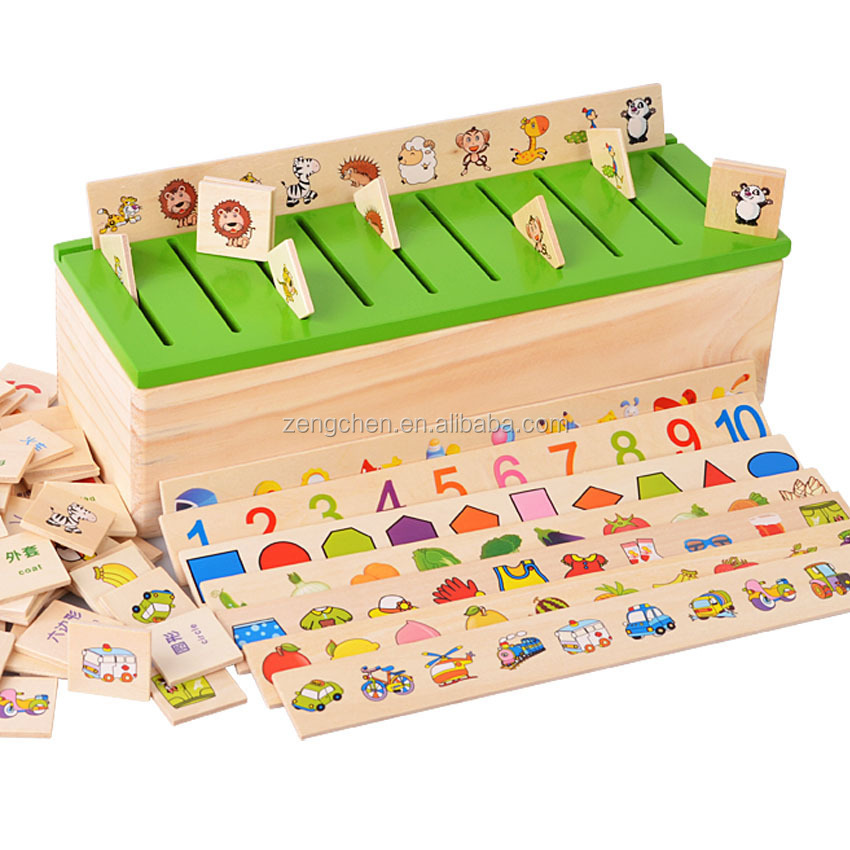 Children Early Educational Shape Matched Wooden Knowledge Classification Box Toy
