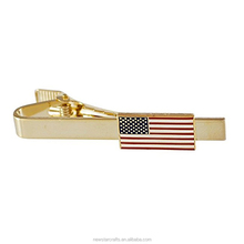 Factory cheap U.S. flag gold tie bars / tie clips