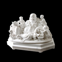 Eastern indoor white marble laughing buddha with children statue