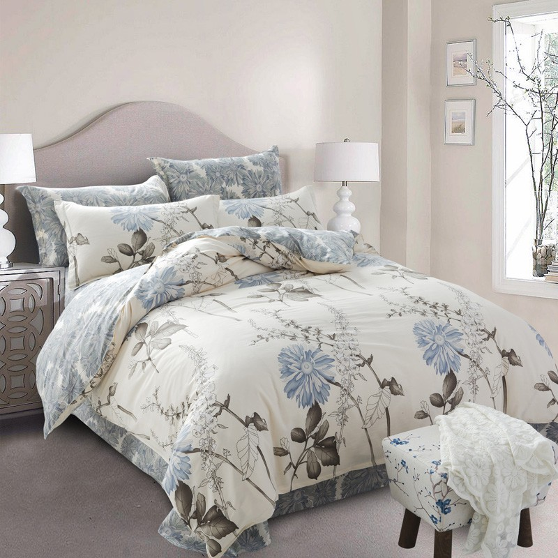 Percale cotton plain 200tc printed bed set