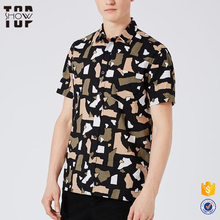 2017 new design african torn paper print shirts for men custom casual
