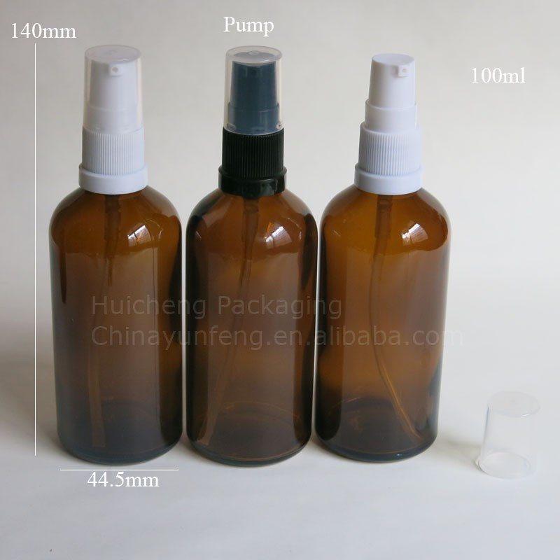 Wholesale 100ml amber boston round refillable lotion pump spayer bottles