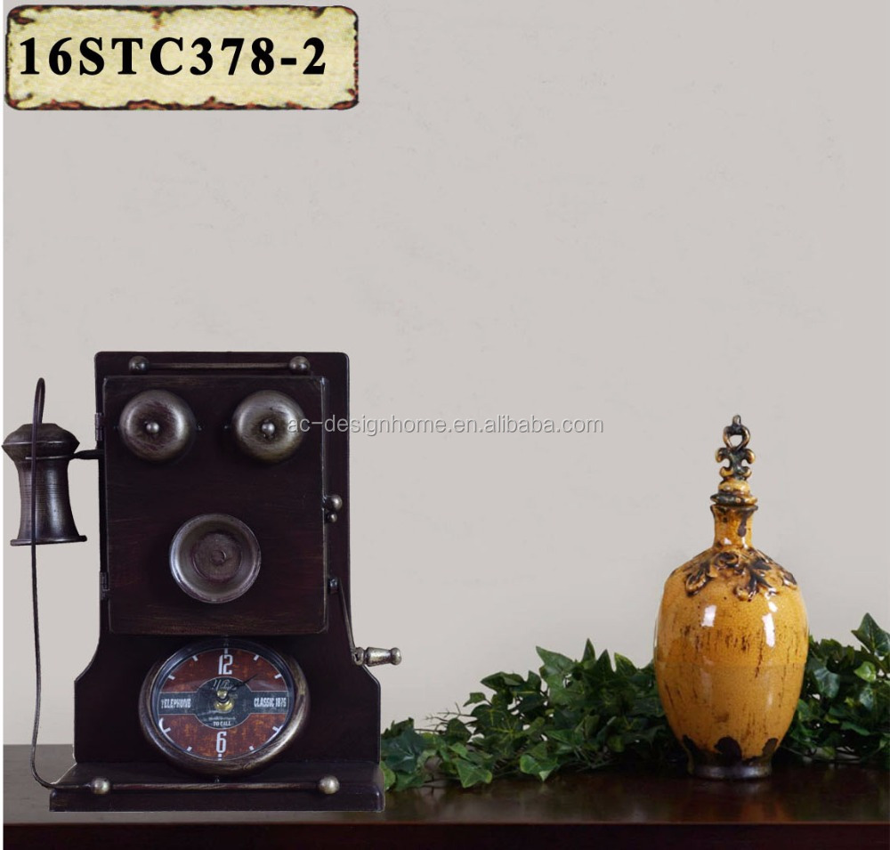BRONZE METAL TELEPHONE SHAPE TABLE TOP CLOCK