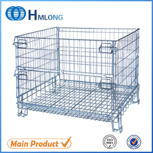 Folding stack storage steel mesh pallet cage