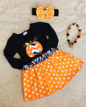 Kids clothing wholesale baby cotton frocks designs pumpkin sets elegant girl party dresses