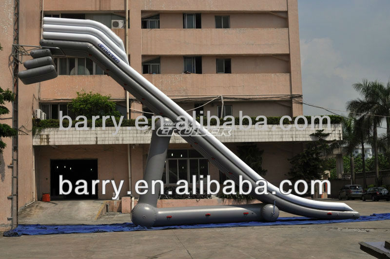 2013 new design high degree arc exciting giant Inflatable slide for yacht and boat