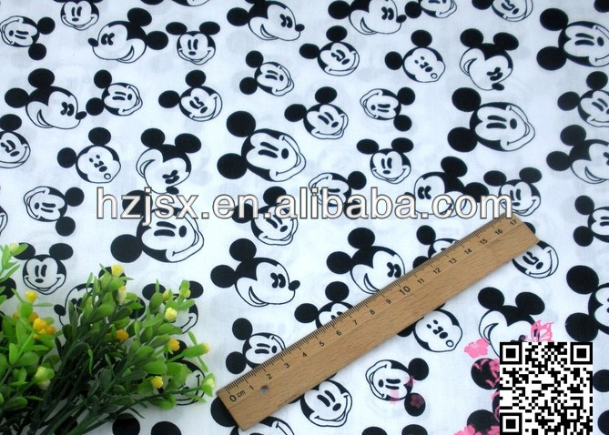 Black and white mickey printed twill cotton bedding fabrics