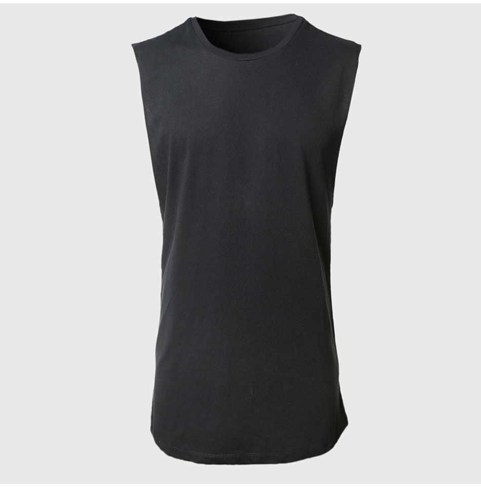 ATK021 Men Scoop O Neck Tank Tops Plain Relaxed Vest Raw Cut Sleeveless T Shirt Classic Simple Design Vintage Look