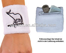 Custom embroidery Terry Cloth sports wristband with zipper pocket