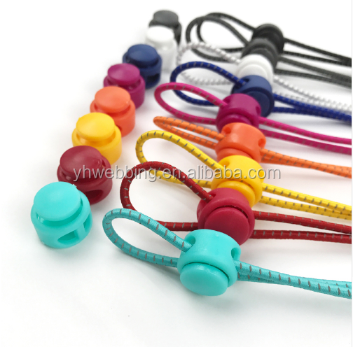 YH14 Locking Safety Elastic Shoelace No Tie Lazy Reflective Color Elastic Shoe Lace Round Elastic Rope Avoid Lazy Children
