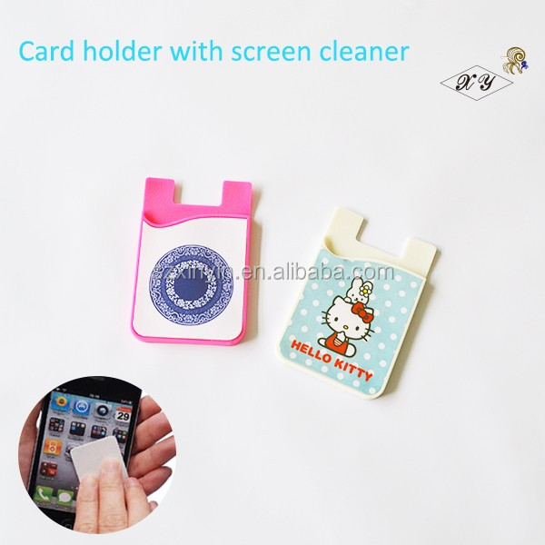 Promotional gift Cell phone silicone rubber credit card holder