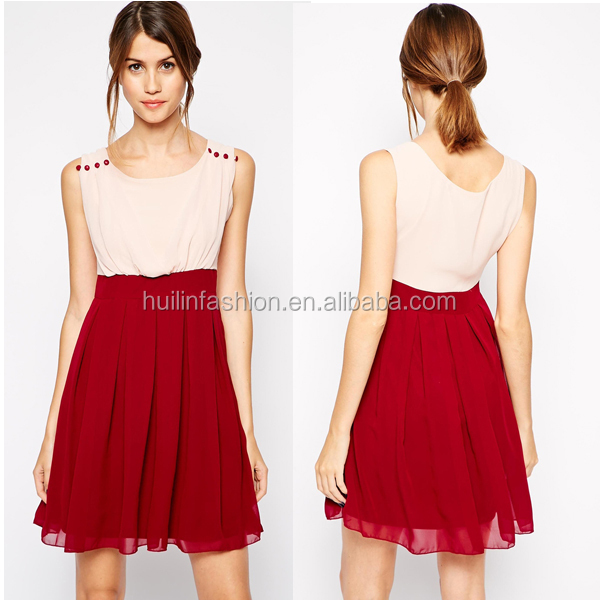 China Manufacturer Sexy Colorblock Cheap Skater Dress Red White ...