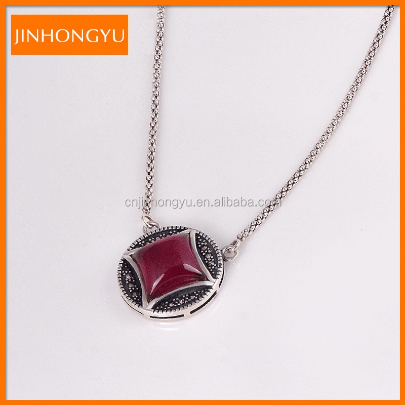 New Fashion ruby pendant Necklace, thai silver gemstone jewelry for women