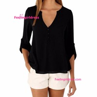 Latest styles office wear fashion cutting blouse for ladies