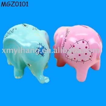 blue and pink elephant shape ceramic Money Saving Box