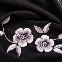High Quality Customizable Flower Embroidery Silk Wool Scarves