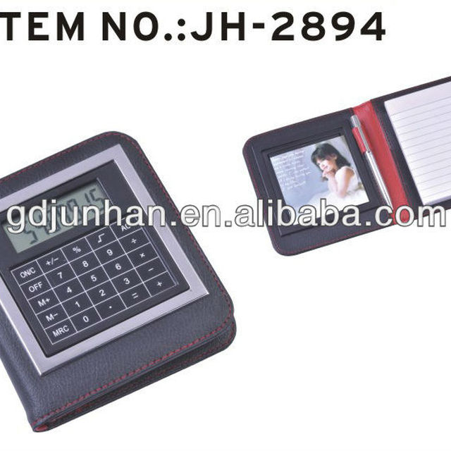 JH2894 pu leather cover pocket notebook with calculator and pen
