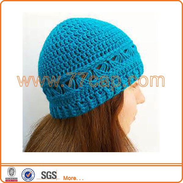 Broomstick lace crochet beanie hat with no logo