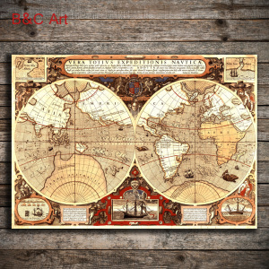 Wholesale Fine Art Print Vintage World Map for Wall Hanging