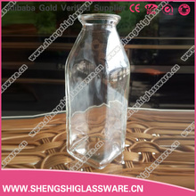 350ML fresh french square glass bottle with logo for juice