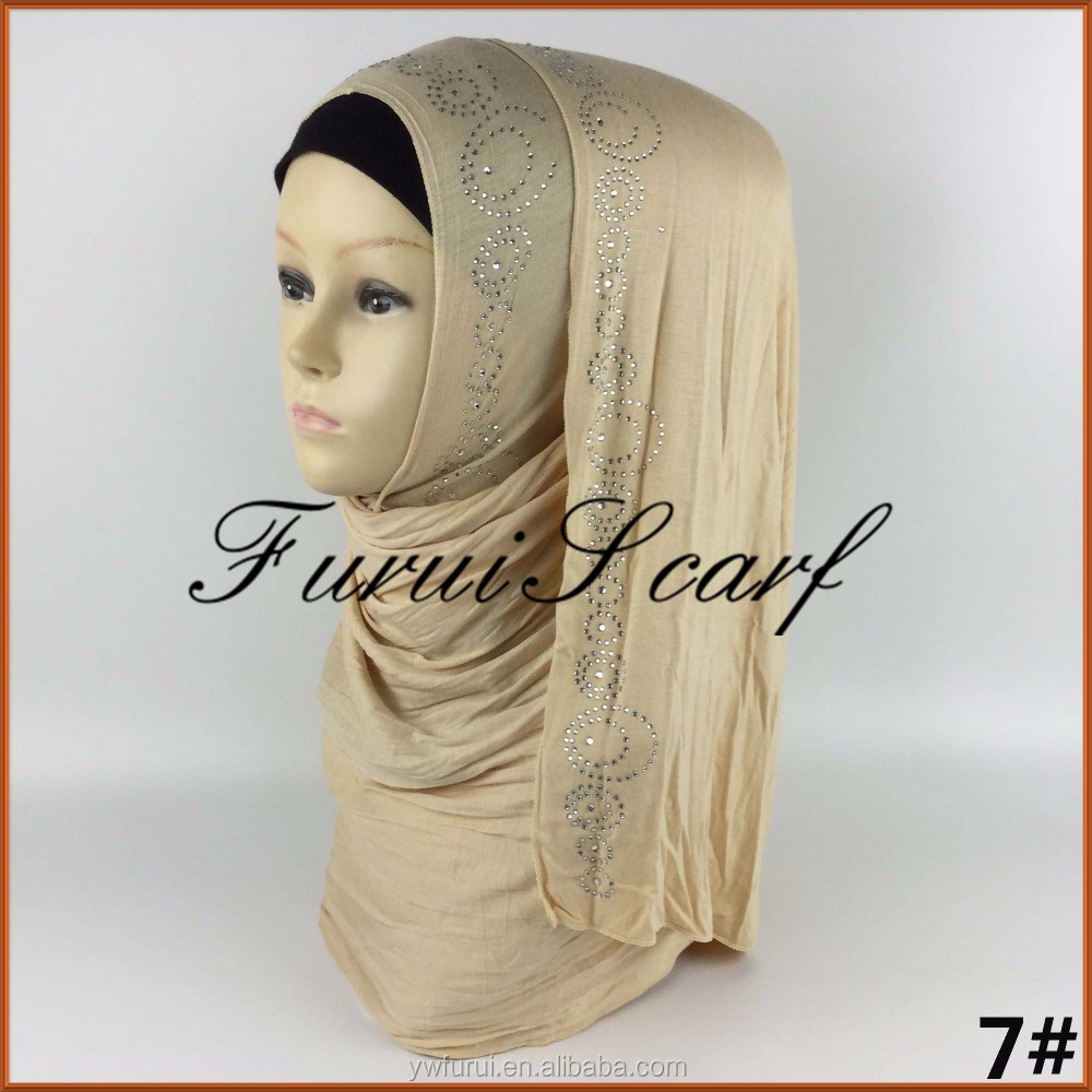 Cotton Jersey Hijab For Muslim Ladies Turban Scarf With Beads Long Scarves Wraps Big Size Shawls