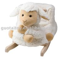 Plush baby rocking sheep with wooden base