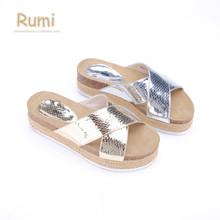 Fashion espadrille criss-cross striped ladies shoes mirror Snake Skin thick platform cork slippers