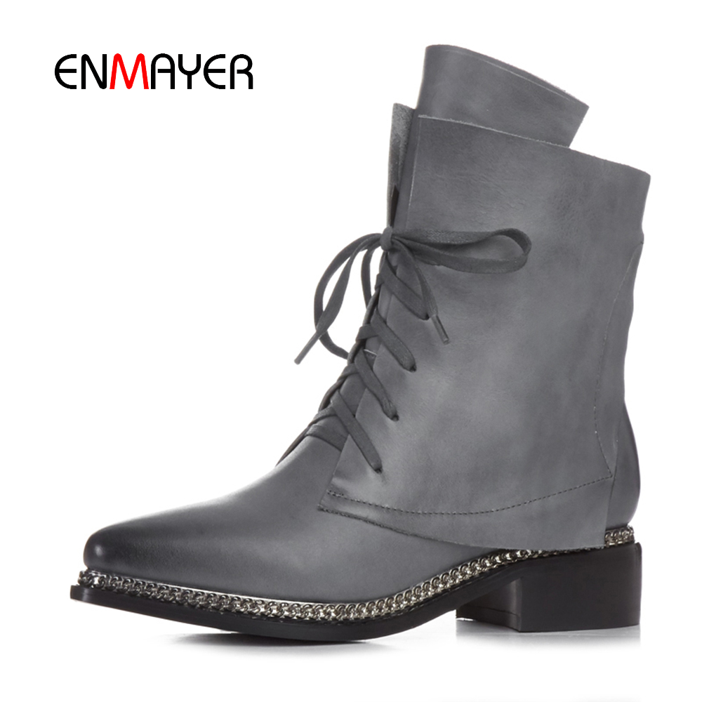 2016 autumn winter fashion women genuine leather boots new design ladies roman boots metallic chain women shoes