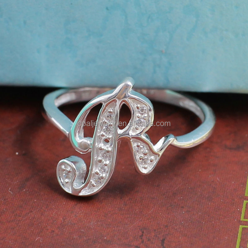 Wholsale Price Rhodium Plated Micro Paved 925 Sterling Silver Letter R Finger Rings