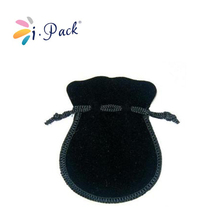 small round black flannel drawstring jewelry pouch