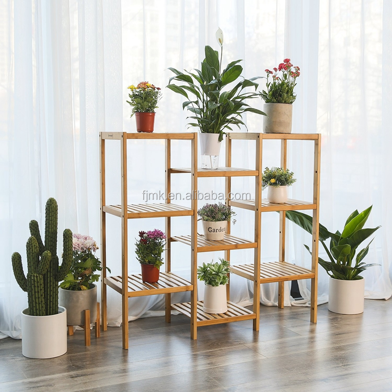 Multifunctional Bamboo Customizable Plant Stand Shelf Flower Pots Holder Display Rack