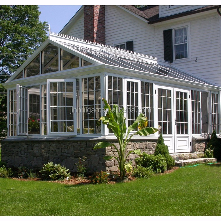 European style Aluminium alloy frame prefabricated glass conservatory toughened glass house