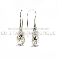 Tear Shape Sterling Silver 925 Filligree Hook Earrings