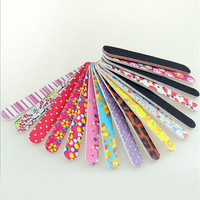 Wholesale Flower printed half-moon banana straight diamond shape Crescent Grit Nail Tools disposable Nail File