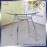 Round glass restaurant dining table