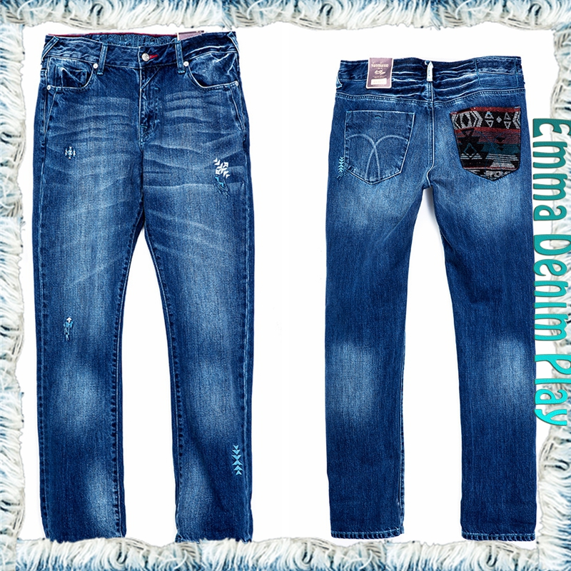 Wholesale high quality designer embroidery patch pocket men's straight jeans free shipping