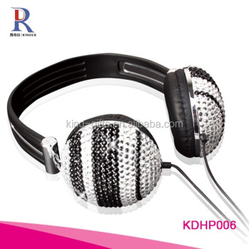 Stylish bling bling rhinestone beaded custom top 10 best headphones micro bluetooth headphone