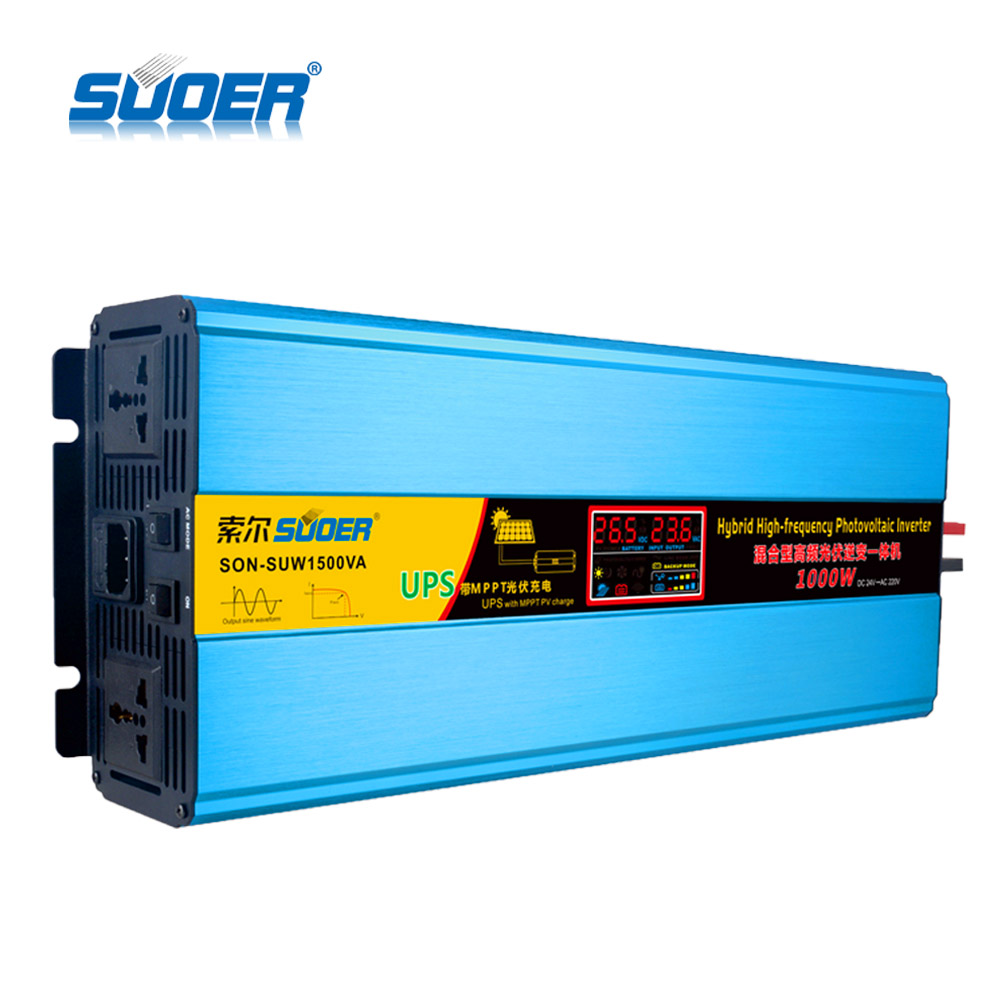 Suoer Photovoltaic 24V 220V 1000W MPPT Pure Sine Wave Solar Panel Home UPS Off Grid Solar Power Hybrid Inverter