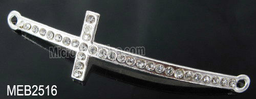 50*13mm Crystal rhinestone cross spacer bar beads for jewelry making