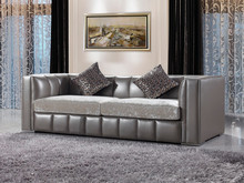 JR316 Modern contemporary grey color genuine thick leather velvet fabric cushion living room salon visiting sofa set