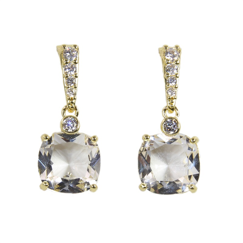 Guinevere <strong>18</strong> <strong>K</strong> Golden Copper Studs Big Glass Cubic Zirconia Trendy Drop Earrings Women's Fashion Party Jewelry Cobre Brincos