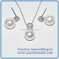 Fashion Necklace and Earring Freshwater Pearl Jewelry Set with Rhodium Plated AAA Zircon Stone