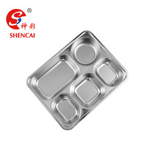 5 Compartment Tray Hospital Food Tray Stainless Steel Lunch Box With Dividers